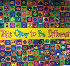 Cassie Stephens: In the Art Room: It's Okay to be Different! (Todd Parr) Part 2 Group Art Projects, School Art Projects, Collaborative Art Projects For Kids, Kindergarten Art, Preschool Art, Collaborative Mural, Harmony Day, Back To School Art, Middle School