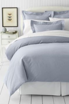 soft grey - 5-oz Solid Flannel Duvet Cover  from Lands' End