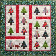 The Norwegian Wood quilt uses our Cool Yule and Metallic Christmas collections… Tree Patterns, Quilt Patterns Free, Small Quilts, Mini Quilts, Easy Quilts, Christmas Tree Quilt Pattern, Christmas Quilting, Christmas Patterns, Christmas Patchwork