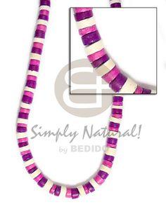 Asequible 4 5mm Coco Heishe Blanco Violeta Combinación De Violeta Gargantillas. Collar Coco Joyeria al por mayor