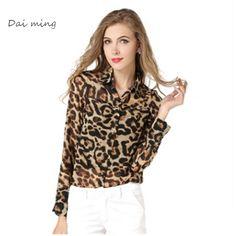 cheap clothes china blusas blusa women tops blouse blouses roupa feminina femininas chiffon sexy long sleeve Leopard #Affiliate
