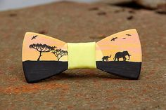 FREE SHIPPING Savannah wooden bow tie. Hand painted. Handicraft unique gift. #JVbowtie