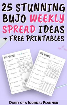 Get organized with these 25 brilliant bullet journal weekly spread layout ideas! Plus if you're still stuck on what to do, get a free printable weekly spread! #weeklyspread #plannerideas #Planneraddict #bulletjournal #bulletjournalweeklyspread #printables Bullet Journal Hacks, Bullet Journal Printables, Journal Template, Journal Pages, Journal Ideas, Bullet Journal Weekly Spread Layout, Weekly Planner Template, Templates Printable Free, Planner Ideas