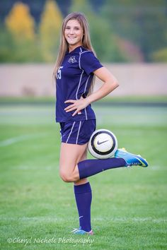 Senior photos | girls | soccer | outside | photo ideas | high school | picture | Cheryl Nichols Photography. http://cherylnicholsphotography.com