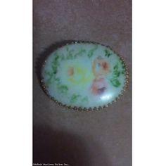 Vintage Hand Painted Flowers on Porcelain Brooch