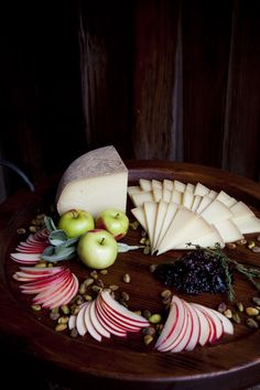 artful cheese/fruit display.