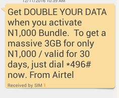 Airtel Double Data Offer - Get 3GB For Only 1k 7GB For 2k or 18GB for 4k