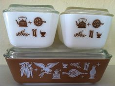 Vintage Refrigerator Fridge Pyrex Set Early American Brown and White