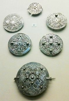 Early 9th century Anglo-Saxon silver brooches found at Pentney, Norfolk in 1977. On display at the British Museum, London.
