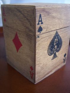 Vintage Wooden Playing Card Box by AutumnRainVintage on Etsy, $15.00