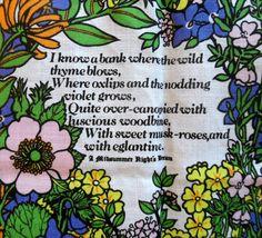 Shakespeare's Flowers Linen Tea Towel from by vakvar on Etsy