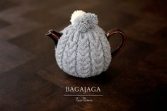 wool, grey, pompon, hand made, knitted, jug