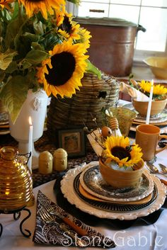 Sunflowers and the honey bee tablescape from StoneGabletablescapes