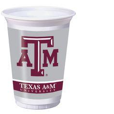 8 Pack 20 Oz Plastic Cups Texas A&M
