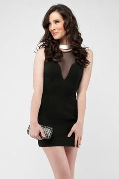Mesh Contrast Dress in Black at www.tobi.com...birthday dress??