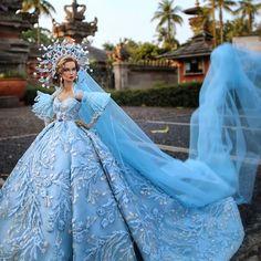 Barbie Wedding Dress, Wedding Doll, Barbie Gowns, Cinderella Wedding, Barbie Dress, Wedding Dresses, Barbie Fashion Designer, Fashion Dolls, Crochet Barbie Clothes