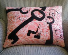 New Pricing - Pink and Black Tossed Keys Pillow no.2 and Insert with Houndstooth back made from upcycled fabric. $35.00, via Etsy.