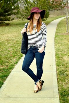 cute casual look | pattern mixing | outfit ideas | black and white striped top | leopard print wedges | burgundy floppy hat | a memory of us blog