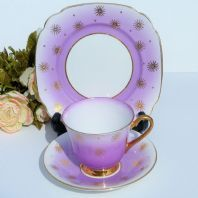 WINDSOR VINTAGE BONE CHINA HARLEQUIN TEA TRIO LILAC