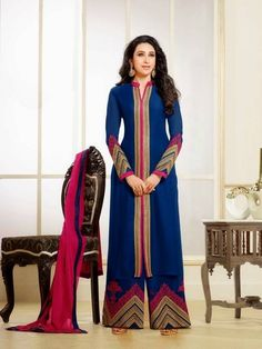 Shop semi stitched blue georgette long achkan style salwar suit , freeshipping all over the world , Item code Pakistani Outfits, Indian Outfits, Achkan, Desi Clothes, Indian Clothes, Designer Anarkali, Anarkali Suits, Punjabi Suits, Long Anarkali