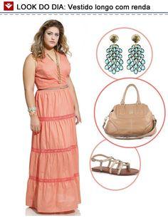 Look do dia para as mulheres mais cheinhas: vestido longo com detalhes em renda! Bem fresquinho e feminino! O que vocês acharam?