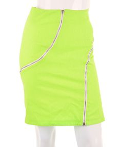 Neon High Rise Bodycon Dress with Exposed Zippers
