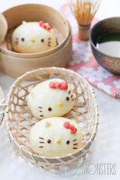 Hello Kitty Steamed Chicken Bun: Recipe & tutorial I'M GONNA MAKE ONE *w*