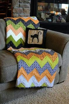 ziggity zag some fall colors, add a pillow to match the holiday, so you can keep changing it! could even be reversible!