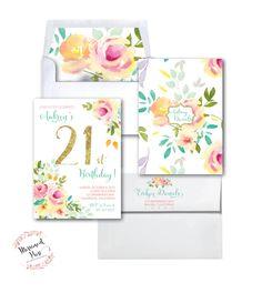 21st Birthday Invitation //Roses // Peonies // Peony // 21 // Peach // Pink // Mint // Gold Glitter // Yellow// MALIBU COLLECTION by MerrimentPress on Etsy https://www.etsy.com/listing/267401226/21st-birthday-invitation-roses-peonies