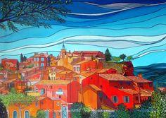 ROUSSILLON Acrylique sur Toile : 100 x 73 ..........900 € Voilà une petite commune du Vaucluse qui étonne et qui devient incontournable pour tous les amoureux de la région. Pour ceux qui ne la connaissent pas encore,  je puis vous assurer qu'elle va vous en montrer de toutes ses couleurs...