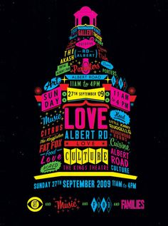 """Love Albert Road  """"We worked with Ian Parmiter and friends to create a typographic poster to celebrate the Love Albert Road Day.   The Event takes place every year in our hometown and involves businesses from the local area coming together to celebrate all that is Southsea."""""""