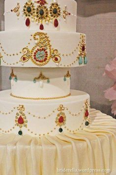 Indian Wedding - White and gold wedding cake from Sugar Blossom indian #indian