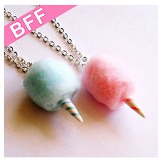 BFF Necklaces Carnival Cotton Candy Best Friends Necklaces Pink and... ($30) ❤ liked on Polyvore featuring jewelry, clay jewelry, cotton jewelry, pink jewelry and blue jewelry
