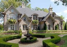 Chateau Lafayette House Plan # Front Elevation, French Country Style House Plans, Luxury House Plans / Like window boxes & materials French Country House Plans, French Country Style, French Country Exterior, French Style Homes, French Cottage, Country Farmhouse, Tudor Cottage, European Style Homes, Rustic French