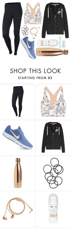 """Gym glass"" by zagl on Polyvore featuring NIKE, Lucas Hugh, S'well, H&M, Happy Plugs and Payot"