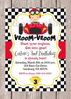 Race Car Birthday Party Invitation / Racing / You Print / PRINTABLE Racing Invitation / Cars / Choose Hair Color / You Print