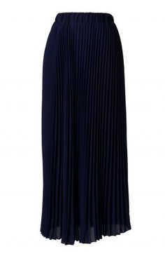 Chiffon Navy Blue Pleated Maxi Skirt - Retro, Indie and Unique Fashion