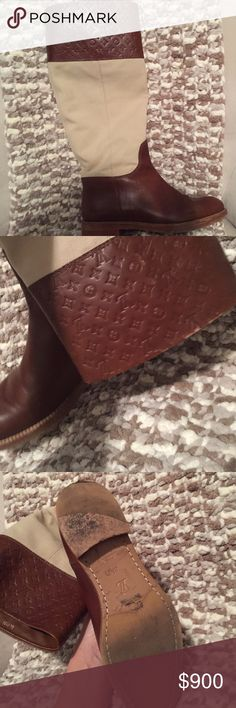 Louis Vuitton Seine Flat Boot Preloved auburn and beige flat boot. Scuffing can be seen at the top of boot please see picture. Louis Vuitton Shoes Combat & Moto Boots