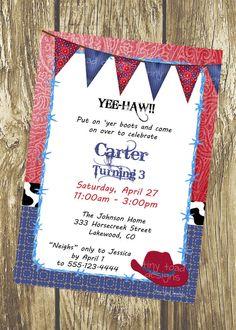 Cowboy Birthday Party Invitation DIY Printable by TinyToadDesigns, $12.00