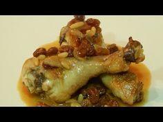 Pollo con salsa de pasas y piñones / receta fácil - YouTube