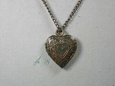 "Vintage HEART shape sterling LOCKET PENDANT on 13"" sterling chain"