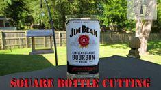 How To Cut A Square Glass Bottle #diy #bottlecrafts #homedecor #homemade #diygiftideas Recycled Bottle Crafts, Bottle Cutter, Jim Beam, Bottle Lights, Glass Bottles, Bourbon, Vodka Bottle, Whiskey, Homemade