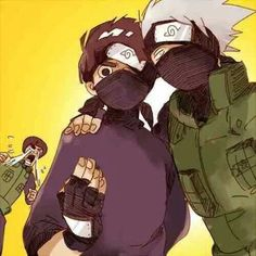 Lee thought it would cool to wear a mask like Kakashi, and Guy is going berserk because he thinks Kakashi is trying to steal his protege from him. Kakashi thinks Guy is going Besek is funny, so he is going to continue teasing him for a bit more. Naruto Uzumaki Shippuden, Naruto Kakashi, Anime Naruto, Boruto, Naruto Fan Art, Naruto Comic, Naruto Gaiden, Naruto Cute, Gaara