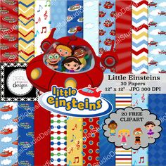 Little Einstein Digital Paper Pack  30 by DigitalStudioDesigns
