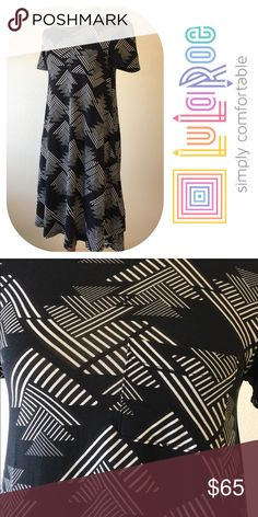 """LuLaroe Carly Dress LuLaroe dress🔹so soft and comfortable🔹Like new condition🔹High/Low styling 🔹Black & white🔹Size XXS: (0-8) 34"""" bust, 33"""" front length, 41"""" back length🔹Fabric: 95% polyester, 5% spandex🔹No trades🔹Smoke free home🔹Thank you for stopping by our closet💕🌻💕 LuLaRoe Dresses"""