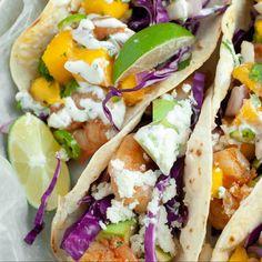 Shrimp Taco Recipes, Shrimp Tacos, Mango Salsa Recipes, Turkey Casserole, Fish And Seafood, Meals For One, Dinner Recipes, Favorite Recipes
