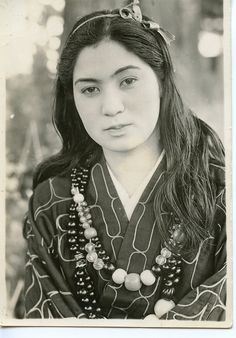 Photograph of an Ainu Japanese girl, from Asahigawa,Japan in 1945.