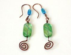 Re-listed in My Etsy Shop today ♥ blue and green copper earrings by EvAtelier1, $18.50