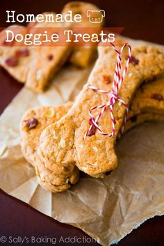 Homemade Peanut Butter Bacon Dog Treats - easy, 1 bowl!
