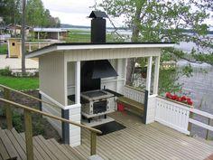 ulkokeittiöt - Google-haku Outside Sheds, Dock House, Backyard Sheds, Lake Cottage, Summer Kitchen, Outdoor Living, Outdoor Decor, Garden Pool, Outdoor Cooking